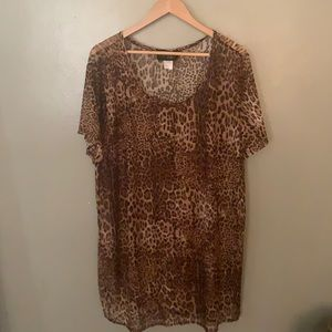 Leopard Print Mesh Swimsuit Cover Up